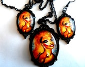 "Black Vintage Filigree Oval Pendant Settings-Art jewelry set ""Beauty Queen"" by Tarra Lu"