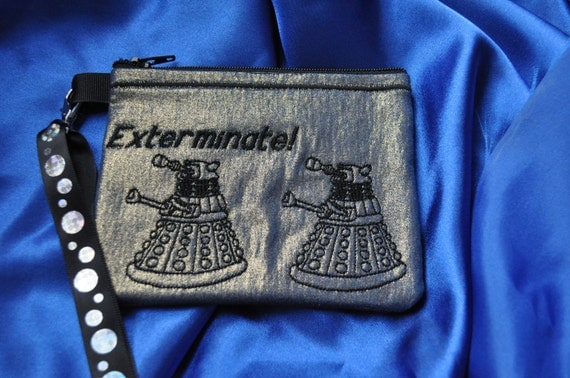 Doctor Who Wallet Wrislet with Embroidered TARDIS, and Daleks Style Three