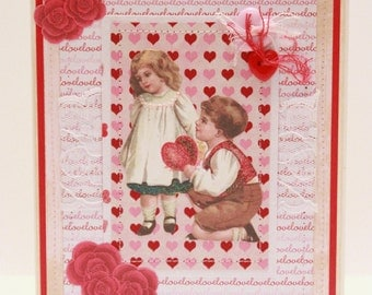 Valentine's Day Card - Will You Be My Valentine - Handmade Vintage Inspired Valentine's Day Greeting Card