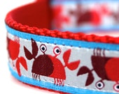 Crab Dog Collar,  Adjustable Pet Collar,  Nautical Dog Collar, Euro Ribbon Collar