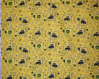 A Wonderful John Deere Tractors Yellow Bandana And Loga Cotton Fabric BTY Free US Shipping
