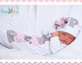 Infant girl gown, take home outfit girl, newborn hat with bow, personalized layette gown, pink and grey, baby gifts