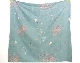 "Nani Iro Fuwari Fuwari  -Blue Green Flannel  50cm or 19"" length by 110cm or 42"" wideth"