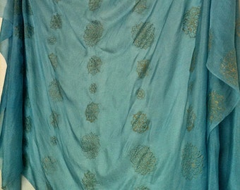 Sky Blue Silk Belly Dance Veil or Fabric