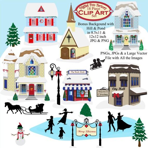 free christmas village clipart - photo #3