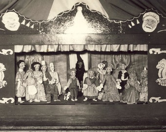 Puppet Show MARIONETTES and STAGE Photo Postcard Circa 1920s