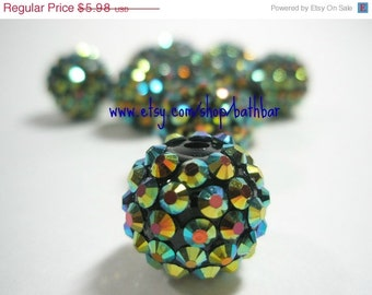 CLEARANCE SALE 16mm - 10 Rhinestone Resin Balls - PEACOCK- Basketball Wives Inspired