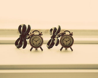 Old fashion alarm clock style earrings