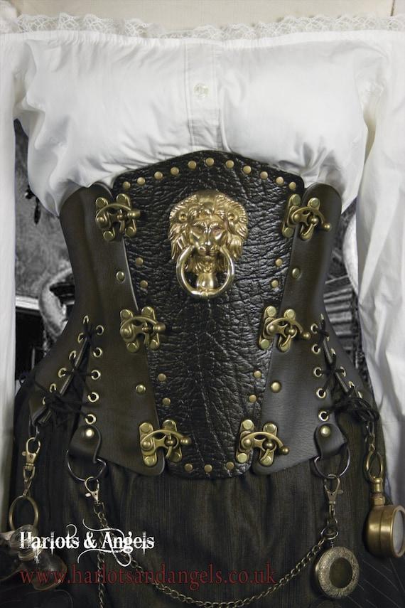Steampunk Black Steel Boned  corset Belt with Real Brass Lion door knocker - all sizes