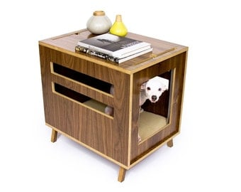 "Mid Century Modern Dog Crate Furniture | Wooden Dog House | Fleece Lounge Pad | MCM Walnut Side Table | ""Dwell Dog Crate"""