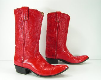 vintage cowboy boots womens 5 B M red patent leather western cowgirl fire engine vintage
