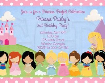 Princess Invitation Birthday-Disney Inspired 10 Princesses- Digital File