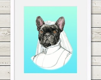 French Bulldog Art - French Bulldog Bride Dog Portrait Painting - Wedding Dog Art, modern dog home decor