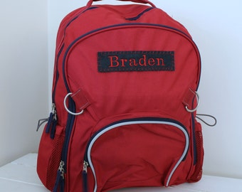 Large Backpack With Monogram (Large Size) Upcycled Pottery Barn-- Fairfax Red/Navy