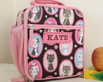 Girl's Cat Lunchbox With Monogram Classic Style Pottery Barn -- Chocolate Kitty