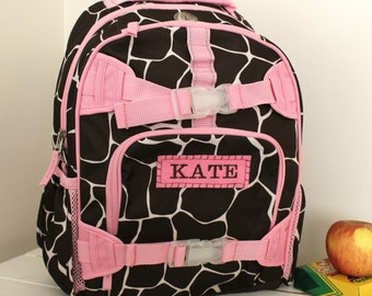 Backpack With Monogram  (Small Size) -- Chocolate/Pink Giraffe