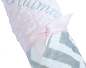 Personalized Baby Blanket Gray and White Minky Chevron Baby Blanket with Pink Dot Minky Back Standard Size