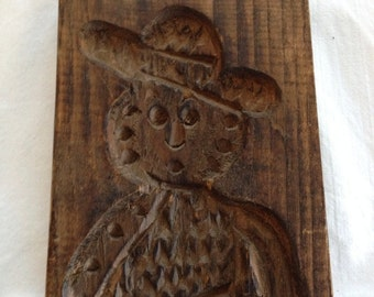Vintage Speculaas Mold Antique Wooden Cookie Press Dutch Rustic And Primitive