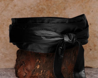 Wide black belt, leather wrap belt  - Sash-a