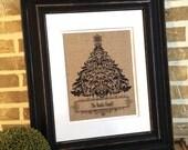 Personalized Christmas Tree Burlap Print