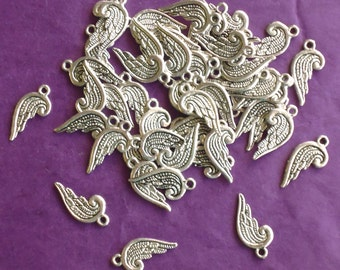 SALE, Angel WING Charms x 50, tibetan silver style, antique silver tone, UK seller, wholesale, reduced, was 3.00, now only 1.50