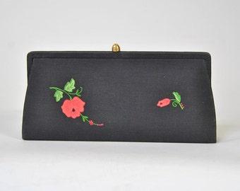 Vintage Clutch 50s I. MIller Linen Black Clutch with Red Floral Applique