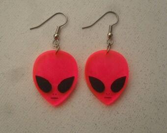 pink alien earrings / laser cut alien dangle earrings