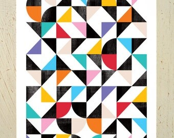 Geometric / abstract print aka  'Organised Confusion'. A colourful and abstract digital print, perfect to brighten up your wall