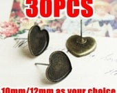 30 Heart Earrings- Brass Antique Bronzed Heart Shaped Saw-Toothed Cabochon Mounting Ear Studs, 10mm/ 12mm (Rubber Ear Nuts included)- Z5937