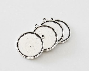 10 Pendant trays- 26mm Round Double Sided Bezel Cabochon Setting, Antique Silver/ Antique Bronzed as your choice