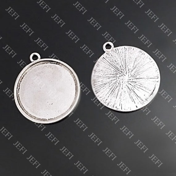 Pendant trays- 10PCS Antique Silver Tone 35mm Round Bezel Cup Cabochon/ Cameo Mountings, 68g