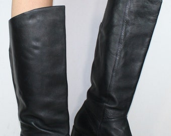 Vintage riding low heel women black tall knee high Leather fashion campus boots 7 M B