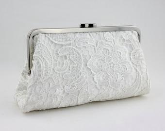 White Lace Clutch / Wedding Gift / Bridal Clutch / Bridesmaid Purse Clutch