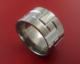 Cobalt Chrom Brick Design Ring Extra Wide Unique Band Custom Made for You