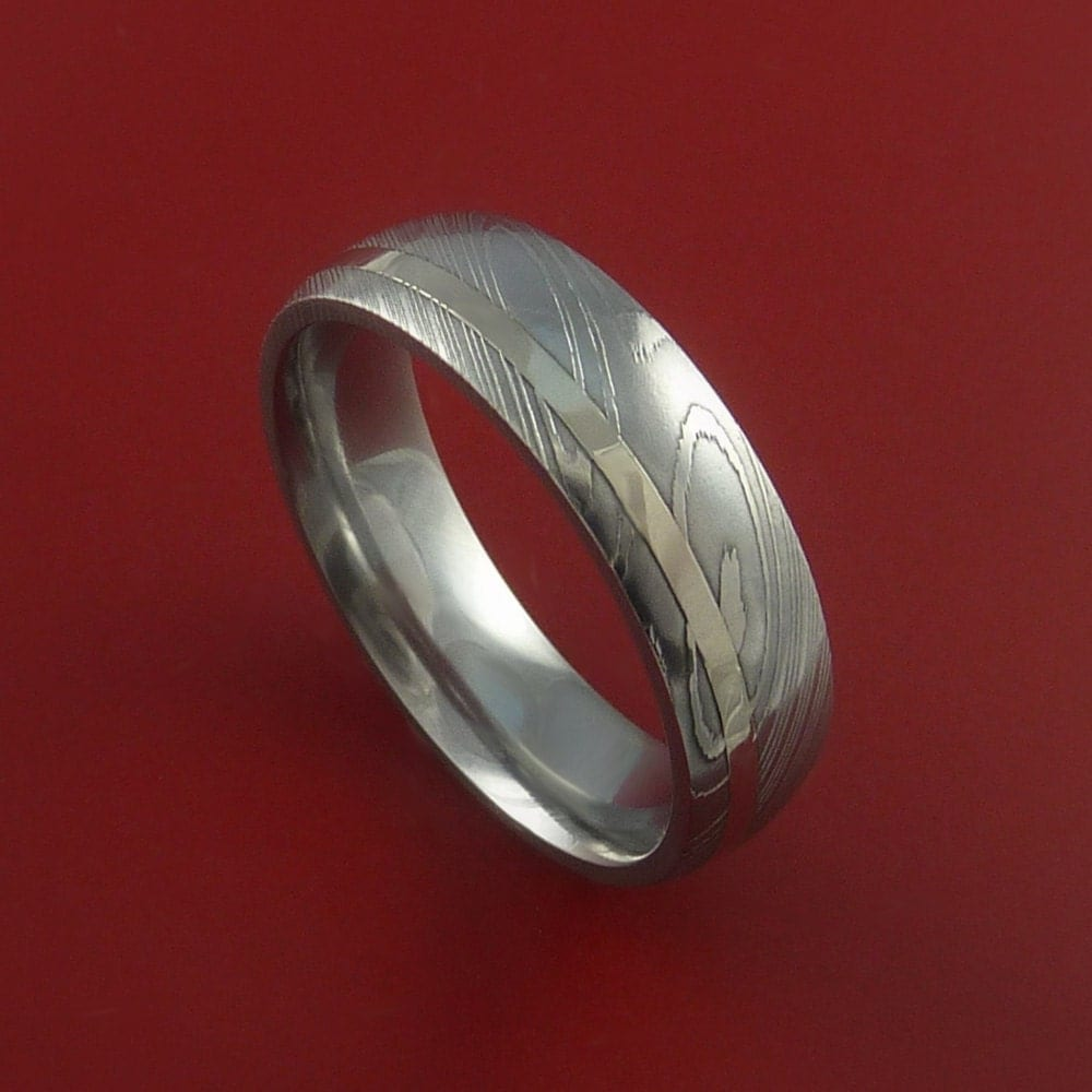 Wire Bands: Damascus Steel 14K White Gold Ring Hand Crafted Wedding Band