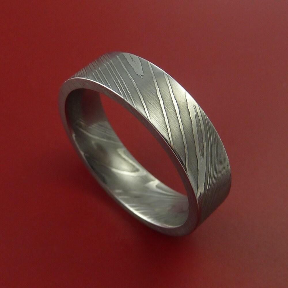 Damascus Stainless Steel Women's Wedding Band Domed |Damascus Steel Rings For Women