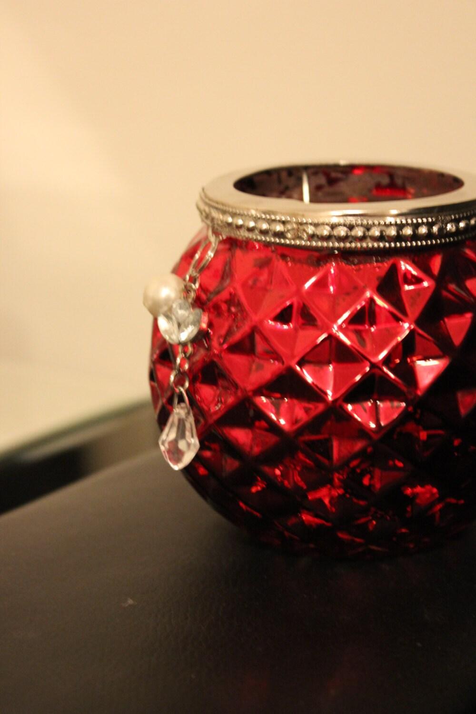set 9 mercury glass red glass candle holders round votive. Black Bedroom Furniture Sets. Home Design Ideas