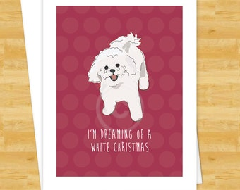 Dog Christmas Cards - Bichon Frise Dreaming of a White Christmas - Happy Holiday Cards