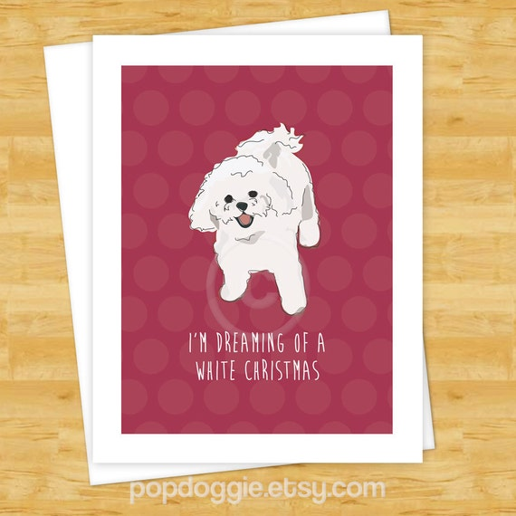 Dog Christmas Cards Bichon Frise Dreaming Of A White
