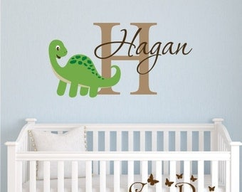 Dinosaur  Monogram Name Vinyl Wall Decal,  Nursery Wall Decor -  Children Wall Decals - Boys Custom sticker - Personalized Name