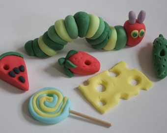 Handmade Very Hungry Caterpillar Style Cake Topper/Decoration