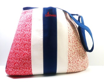 Red/White Blue Crossbody Bag, Messenger, Shoulder Bag, Adjustable Strap