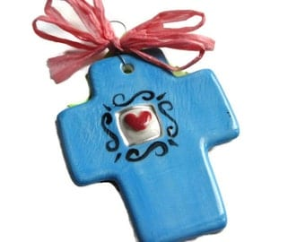 You are Loved Handmade cross with Heart -Aqua Blue