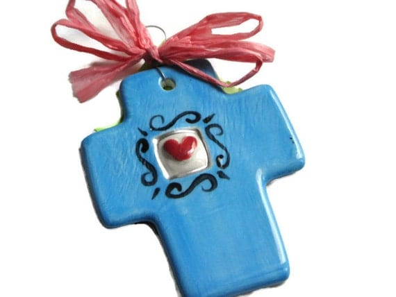 You are Loved Handmade cross with Heart -Aqua Blue