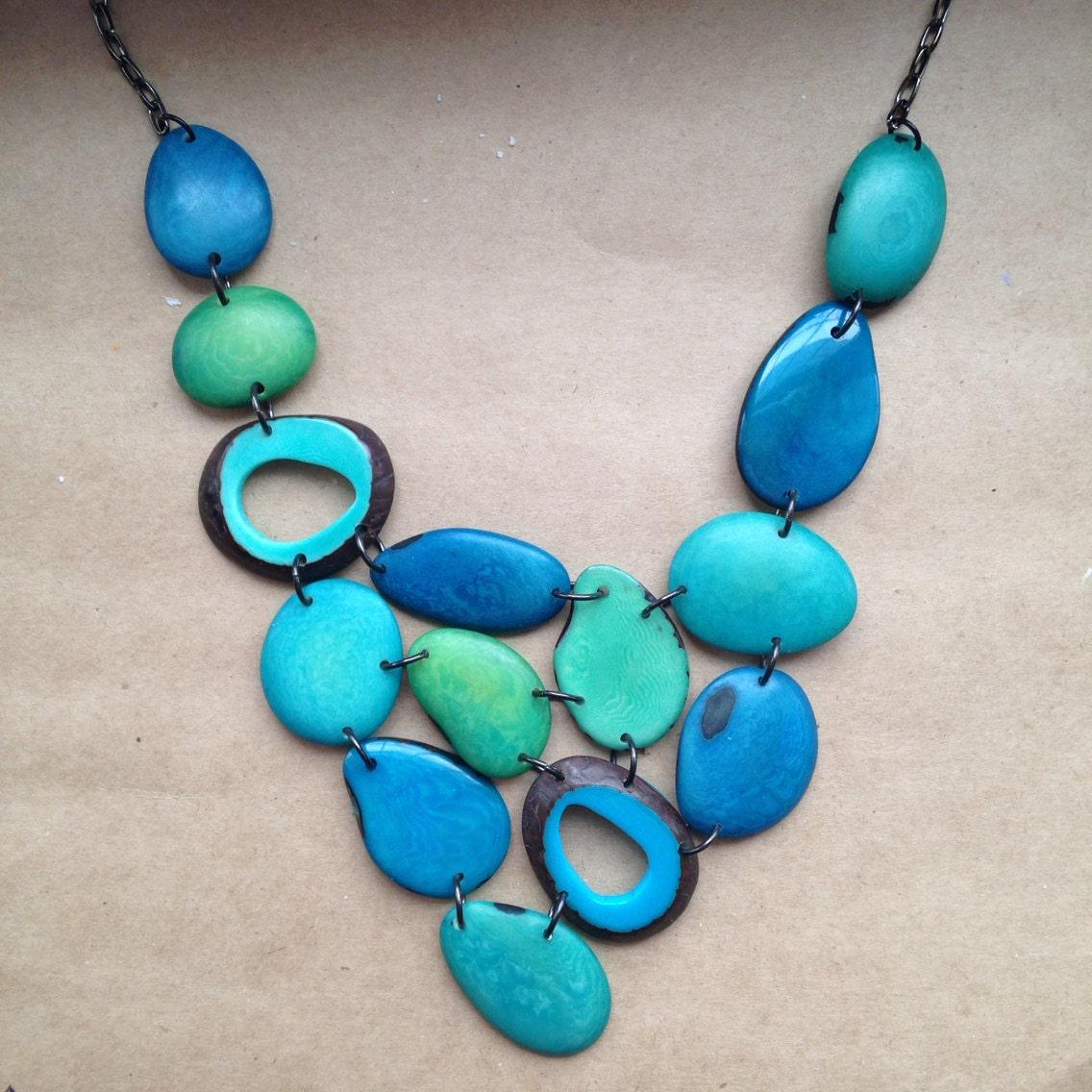 tagua nut jewelry turquoise bib statement by seladesigns