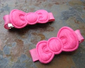 Clippies - Sweet Baby Bows Clippies - Hair Clips - Barrettes - Hairclips - Hot Pink(Set of 2)