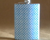 Ready to Ship Ladies Gift Flask Blue and White T Design Print Bridal Party Sorority Stainless Steel Hip Flask 8 Ounces KR2D 7720