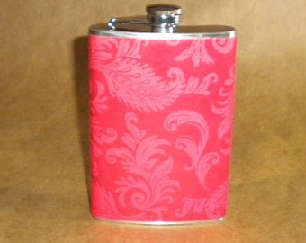 Flask on SALE Red with Rose Colored Damask Swirls Print 8 ounce Stainless Steel Hip Flask KR2D 6268