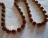 3mm Red Rhinestone Chain - Brass Setting - Red Siam Preciosa Czech Crystals