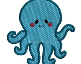 Octopus - Machine Applique Embroidery Design - 3 Sizes (076)